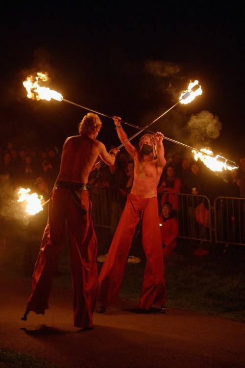 Beltane Fire Society performers celebrate the coming of summer.  (Photo by Jeff J Mitchell/Getty Images)
